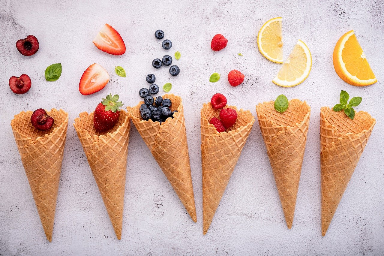 Ice cream cones with fruit at Trinity Bellwoods cafe.