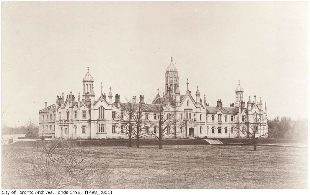 Old photo of former Trinity College in Toronto.