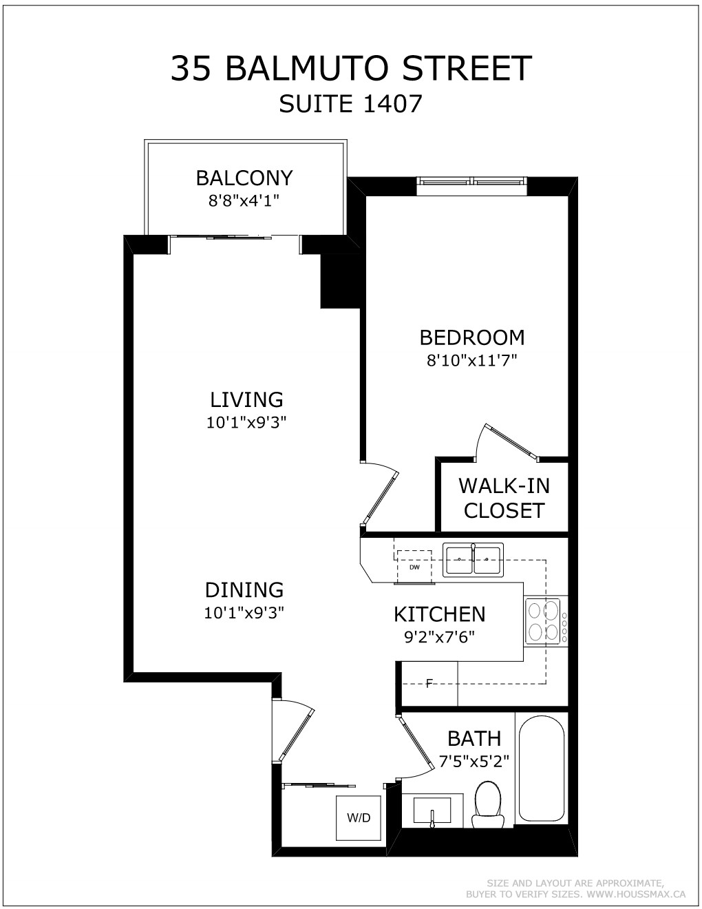 Floor plans for 35 Balmuto St Unit 1407.