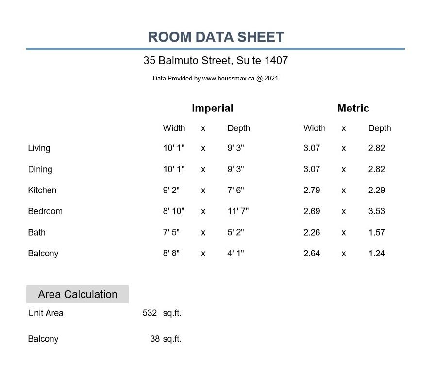 Room measurements for 35 Balmuto St Unit 1407.