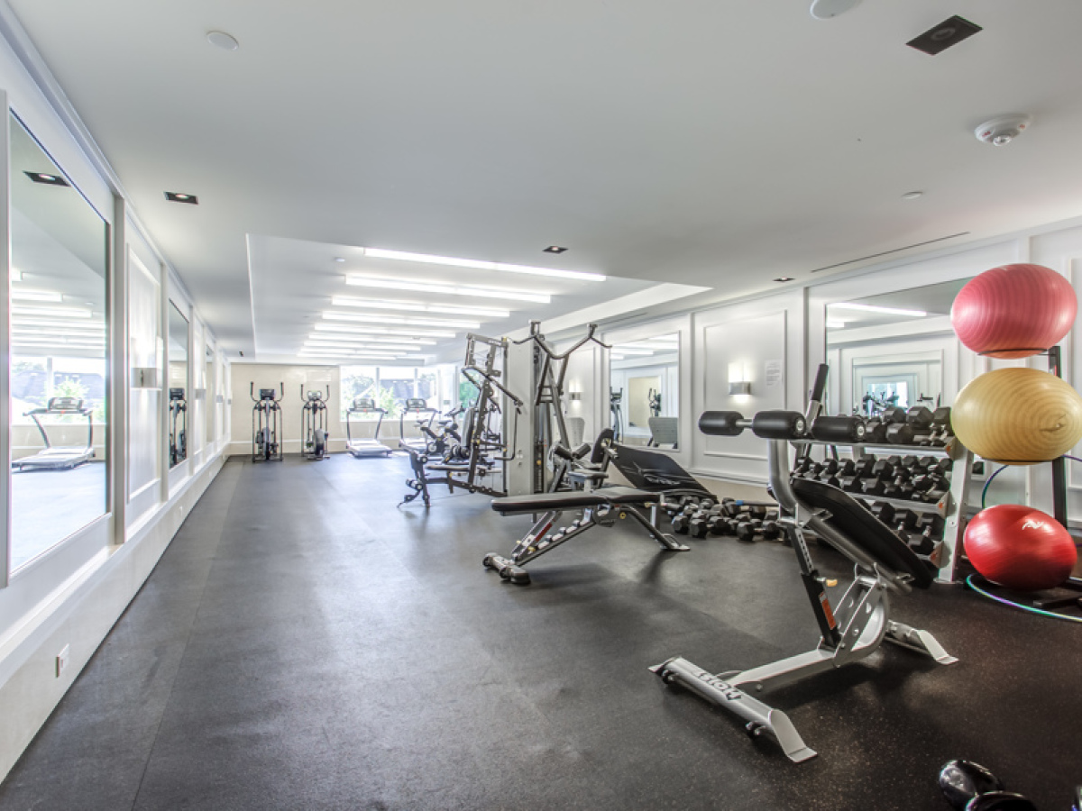 The Hill Condo fitness facility with weights, treadmills and exercise balls.