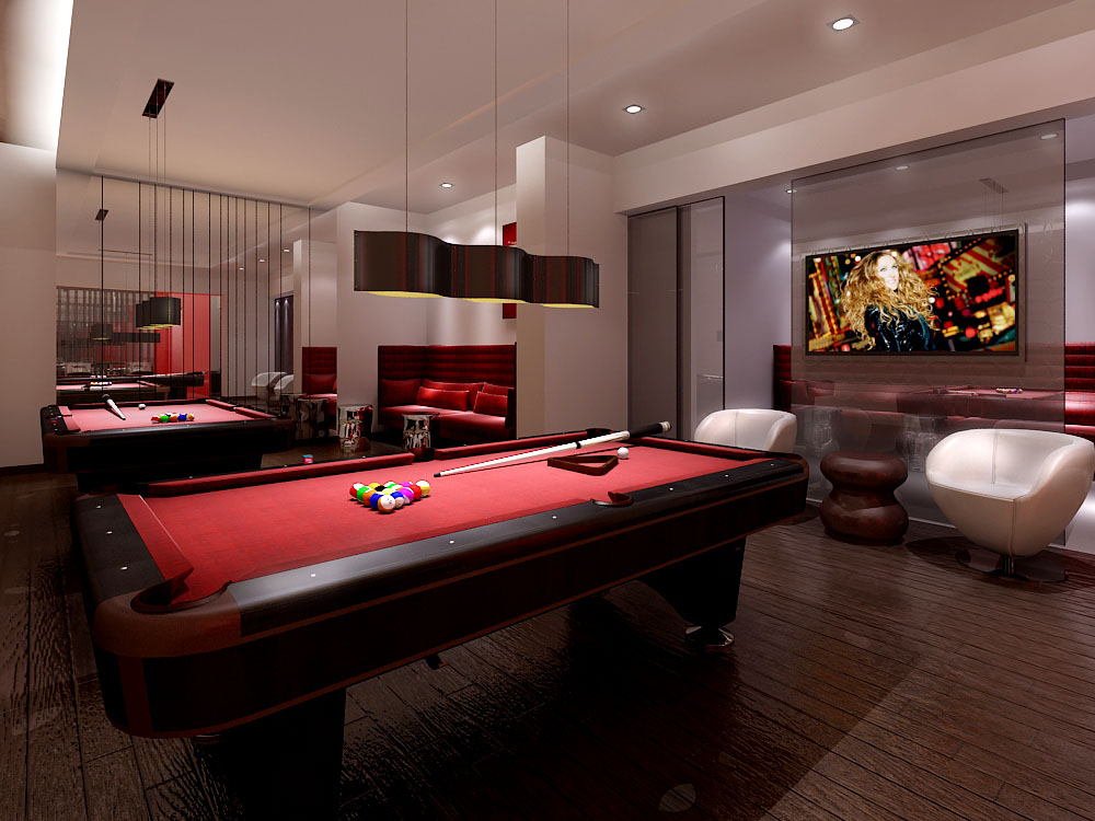 Reve Condos billiards room with red-felt pool tables and TV.
