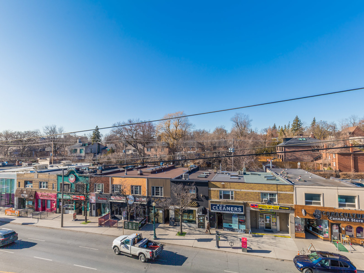 View of streets and shops along Forest Hill Village from balcony of 170 Chiltern Hill.