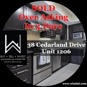 38 cedarland dr unit 1206 flyer stating sold and over asking in 3 days.
