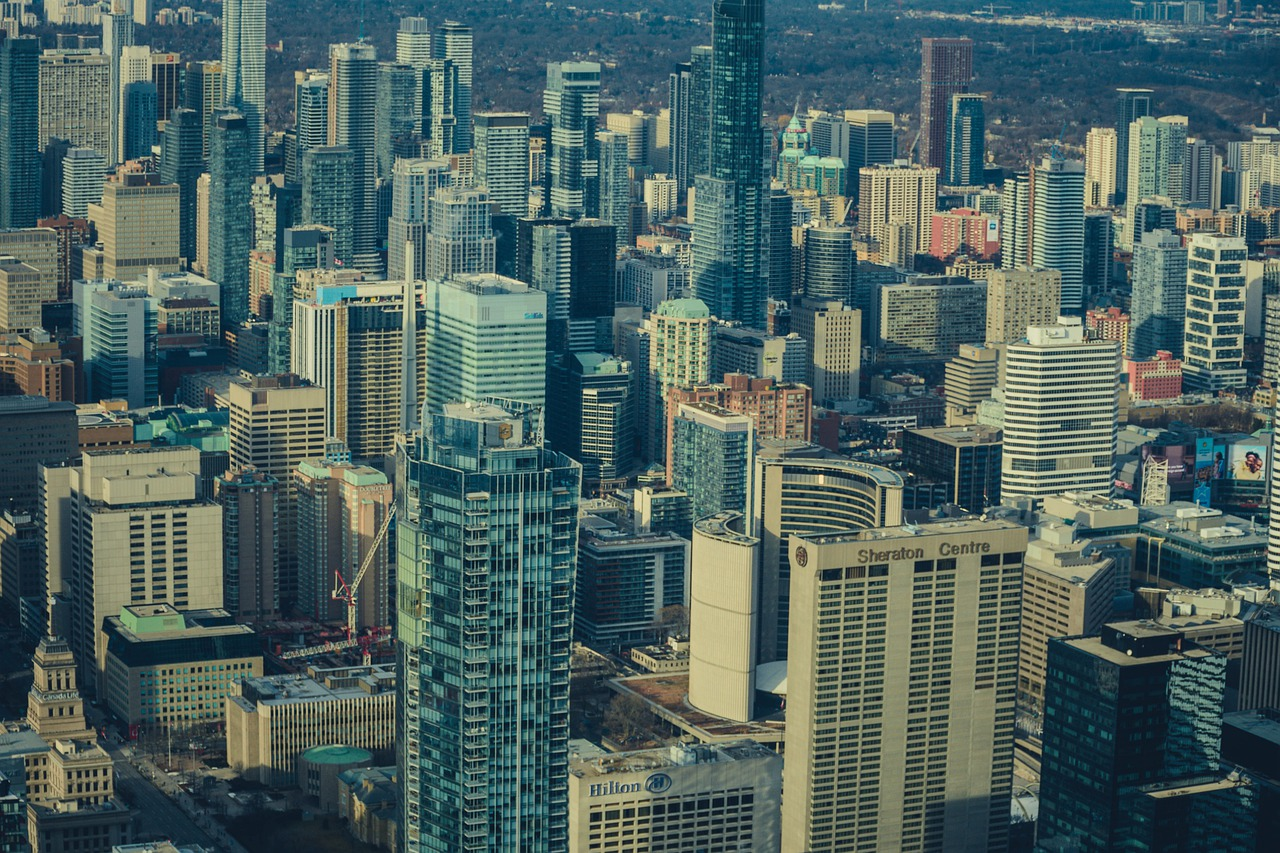 Aerial view of Toronto skyline including condos and City Hall