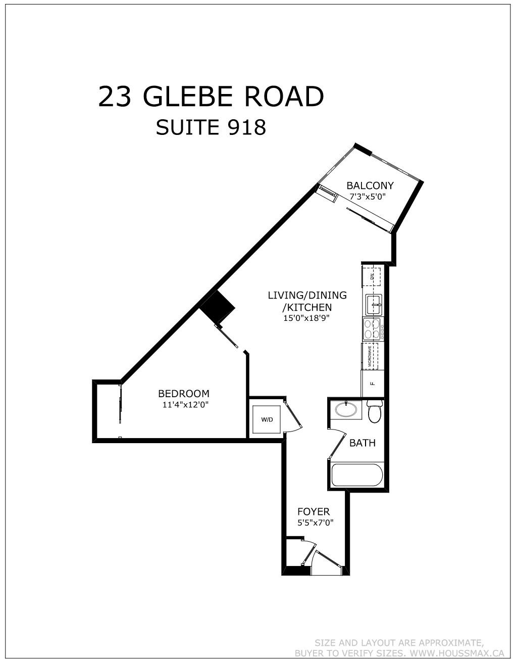Floor plans for 23 Glebe Rd W Unit 918.
