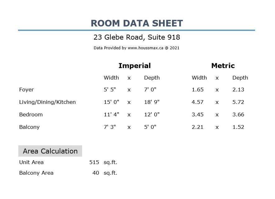 Room measurements for 23 Glebe Rd W Unit 918.