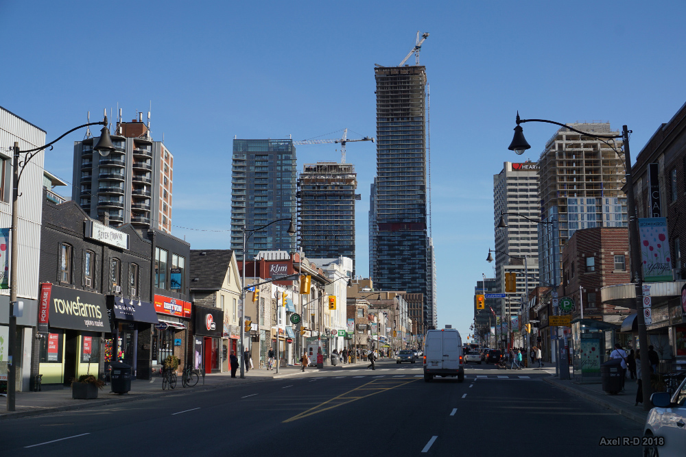 Streets, small businesses and condos along Yonge and Eglinton, Toronto.