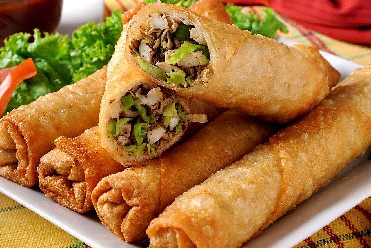 Close up of vegetable spring rolls.