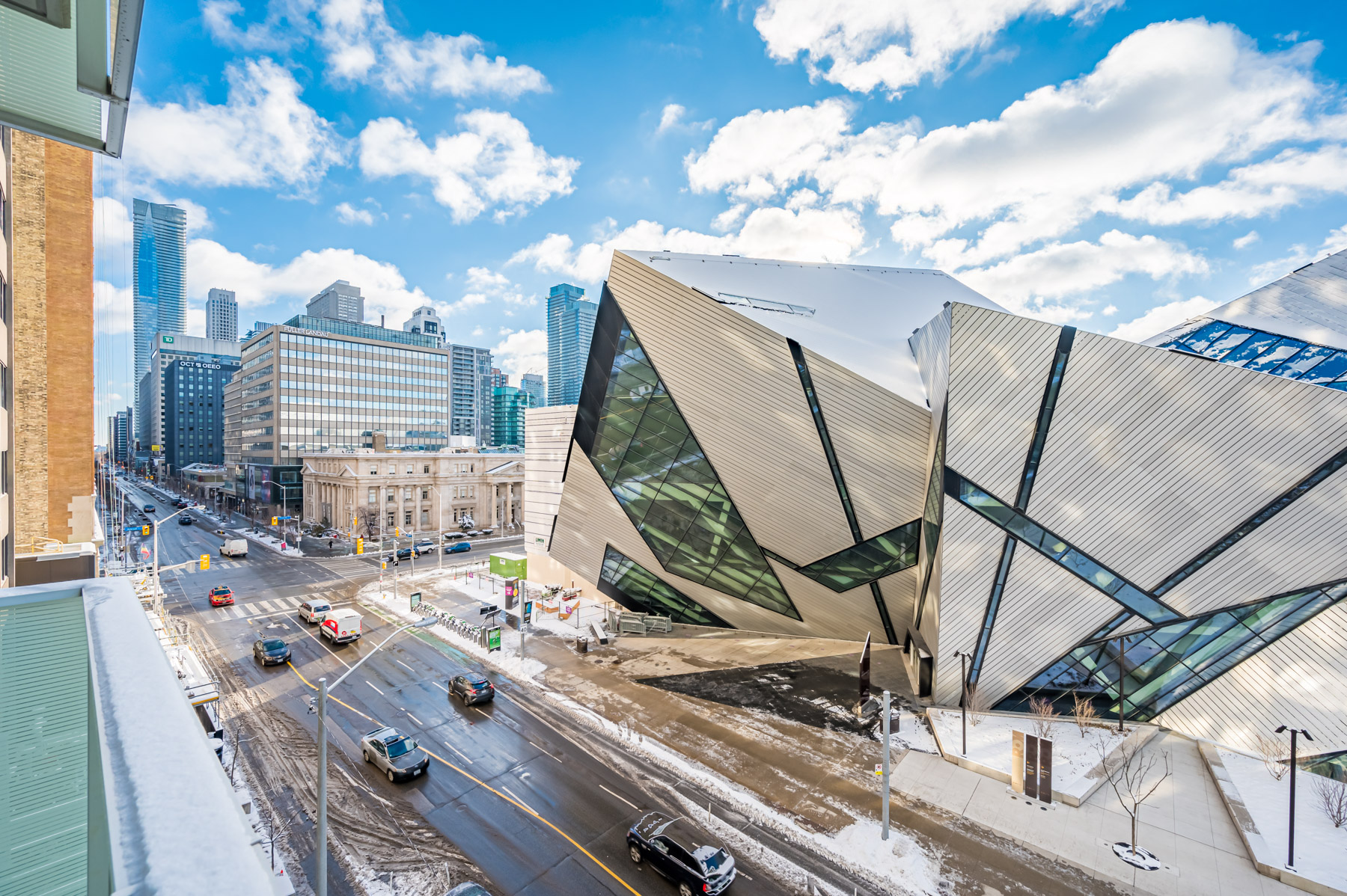 Abstract exterior of Royal Ontario Museum in Yorkville, Toronto.