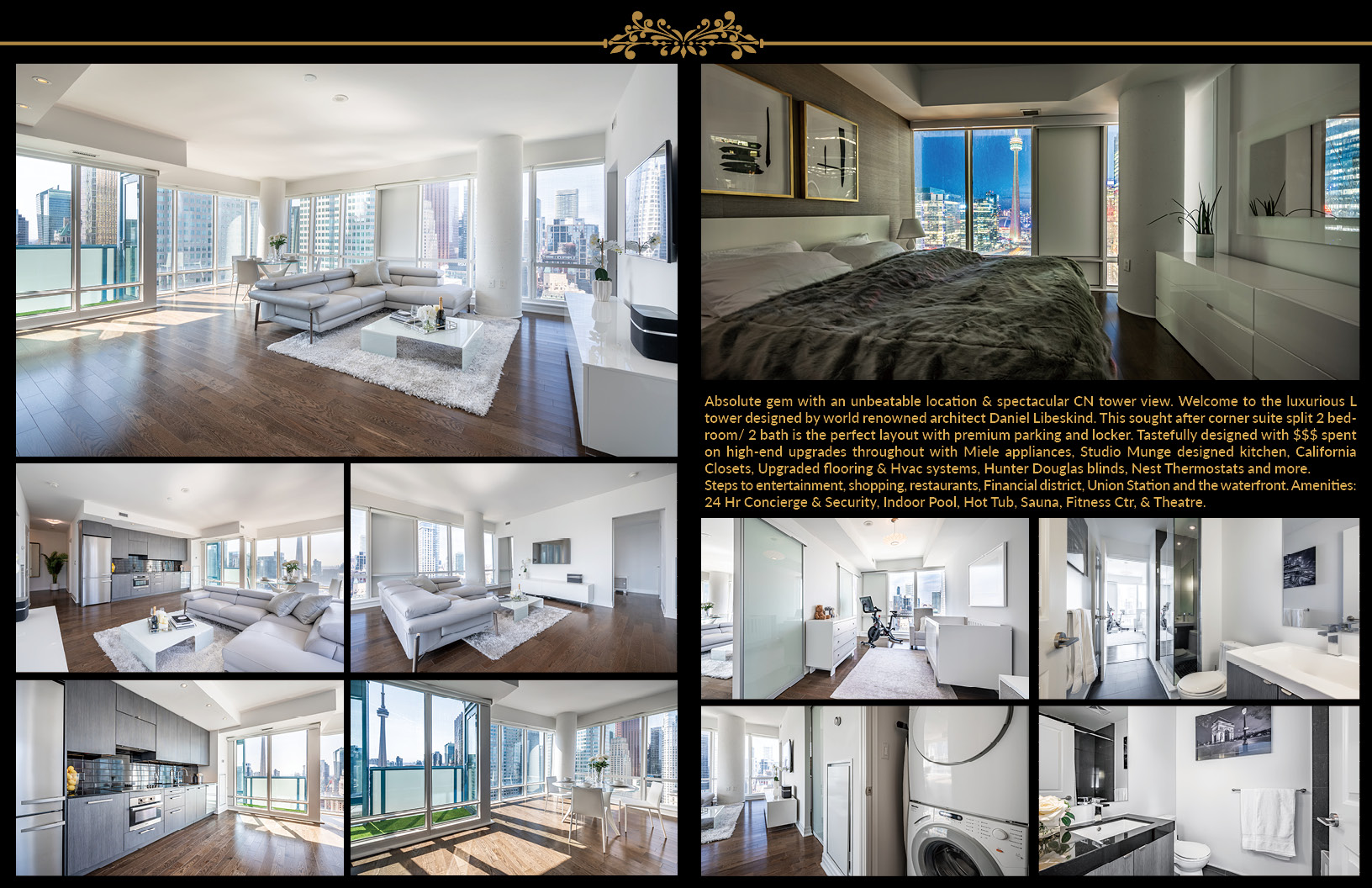 Brochure showing various rooms of 8 The Esplanade Ave Unit 3305.