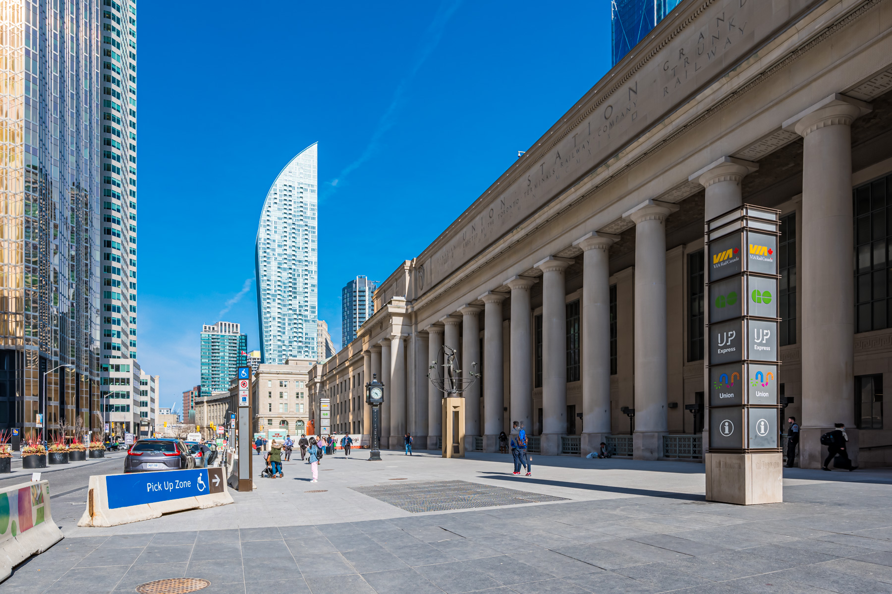 Exterior of Union Station Toronto with L Condos in background.