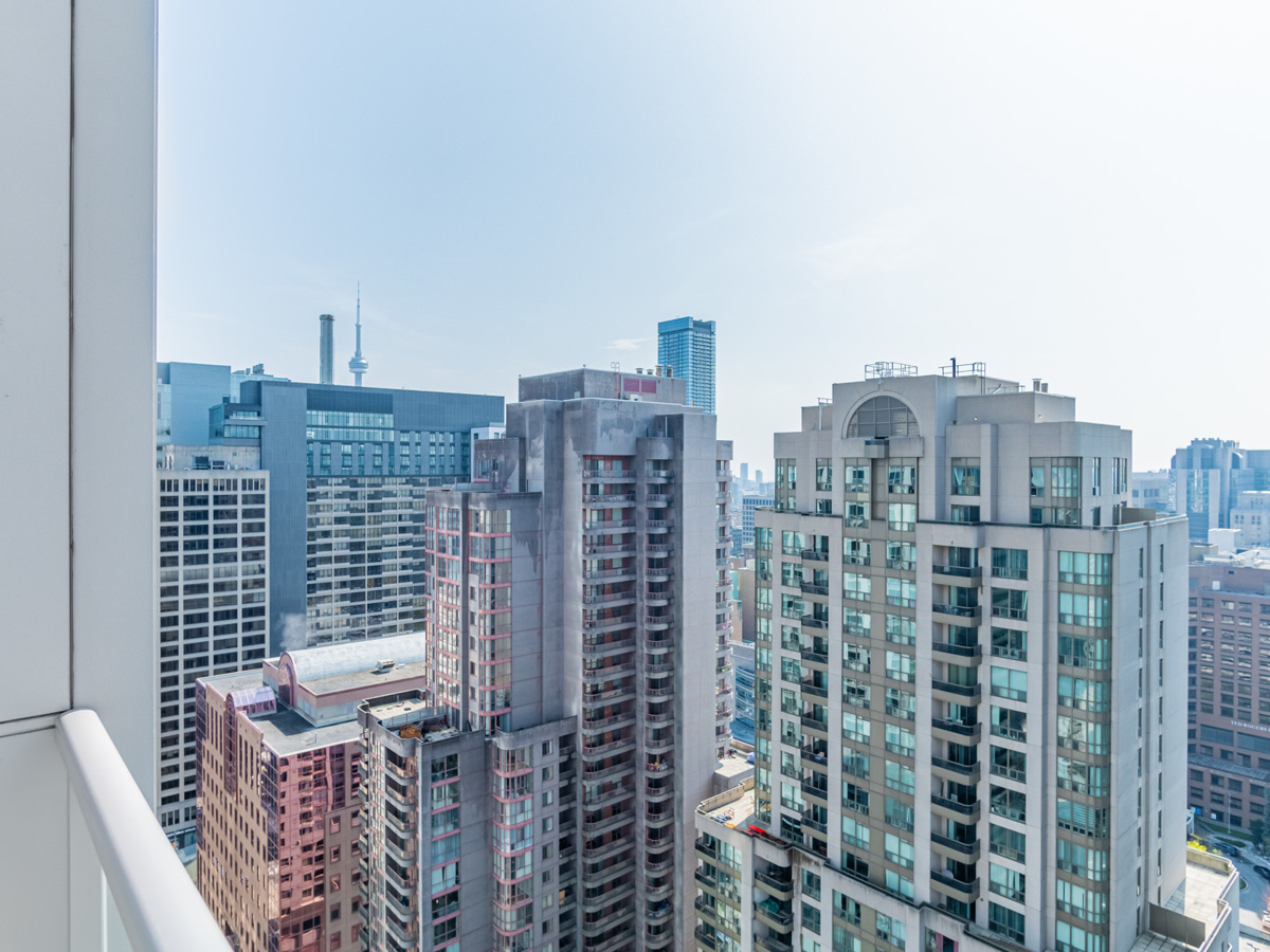 View of Toronto buildings from 763 Bay St Unit 3111 balcony.