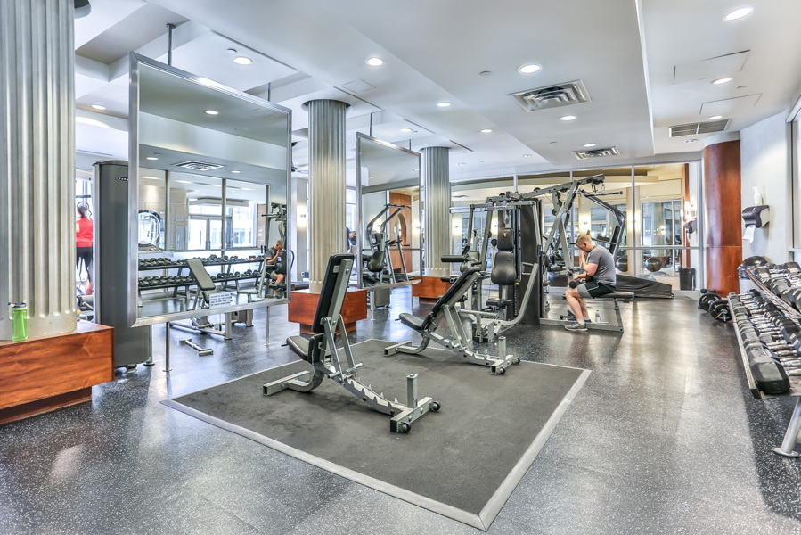 Fitness facility at College Park North Tower condos.