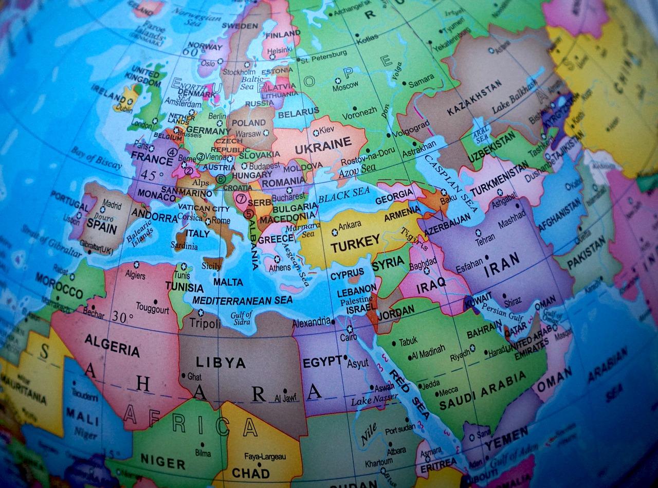 Close up of Europe on globe.