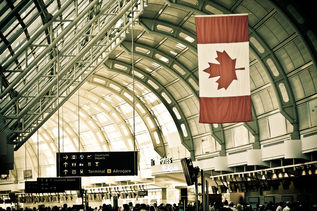 Canadian flag at Pearson International Airport.