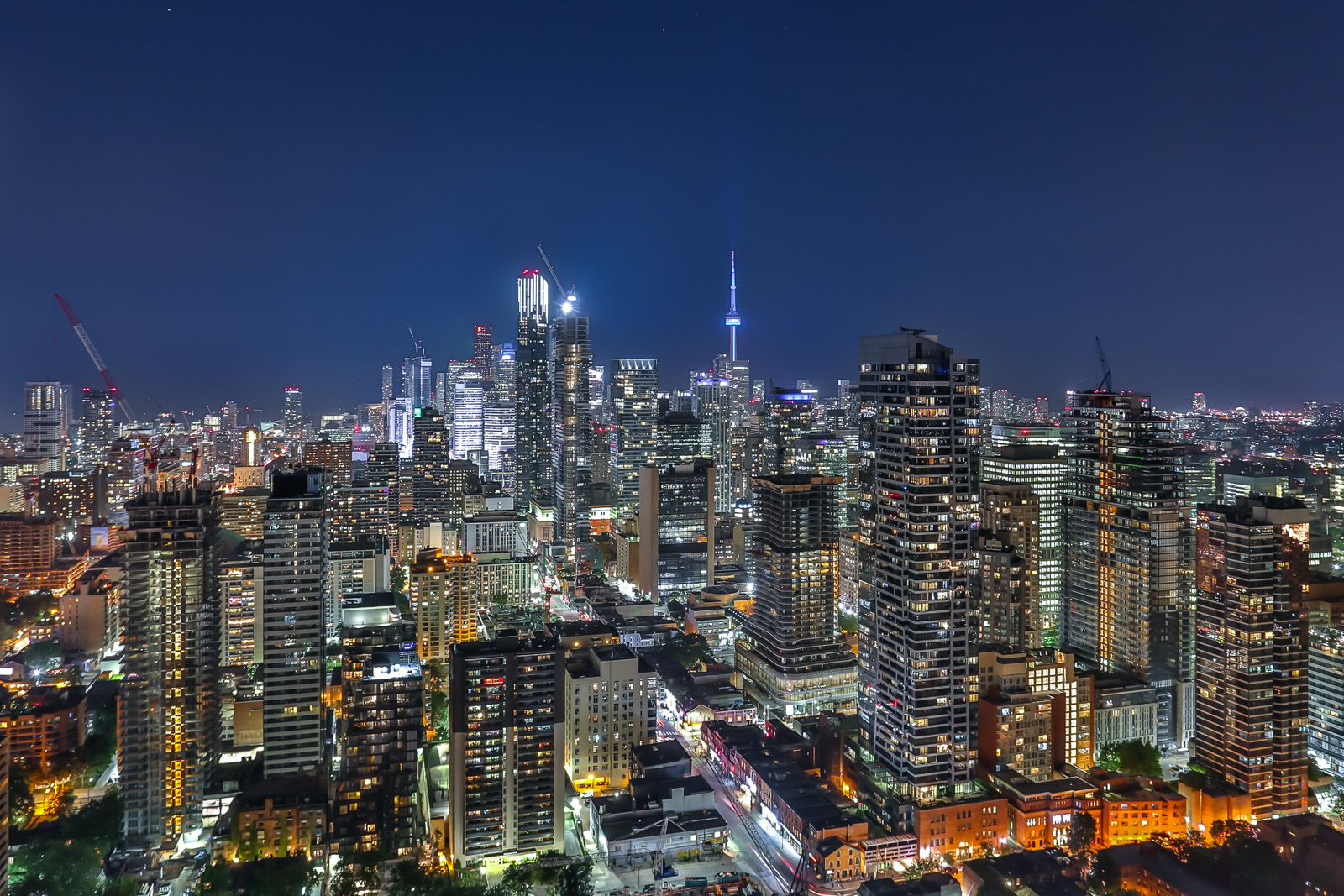 Photo of Toronto skyline at night to appeal to foreign investors.