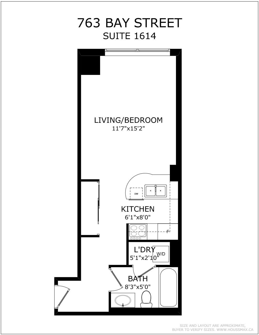 Floor plans for 763 Bay St Unit 1614.