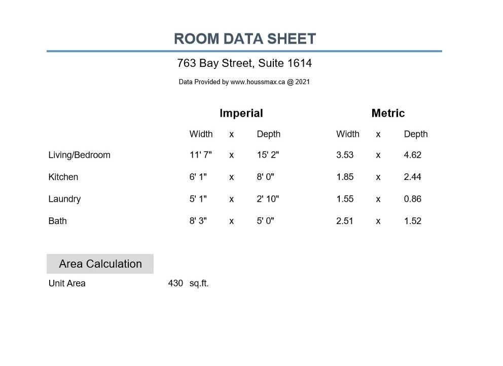 Room measurements for 763 Bay St Unit 1614.