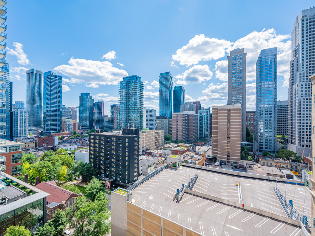 West-facing view of Downtown Toronto from 35 Hayden St Unit 1516 balcony.