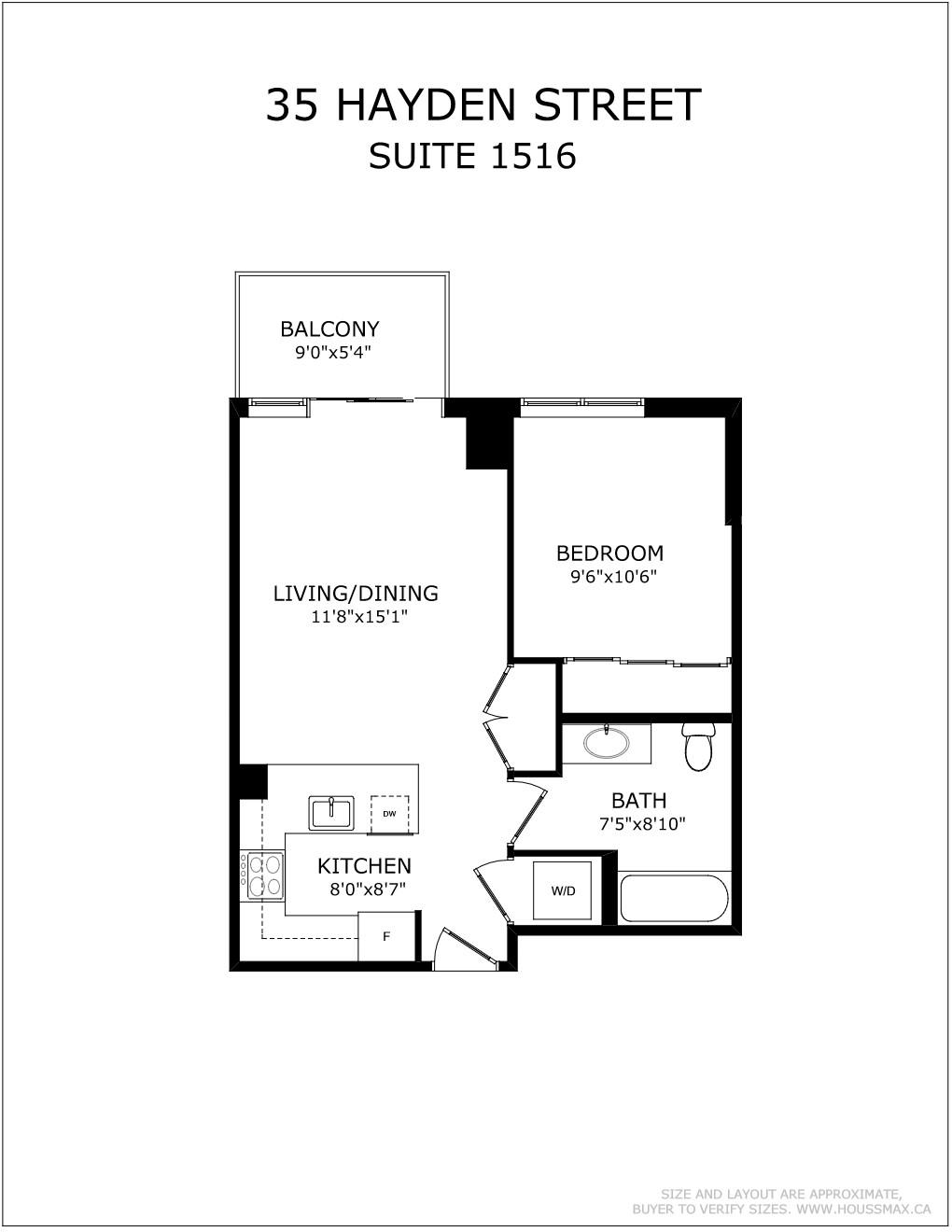 Floor plans for 35 Hayden St Unit 1516.