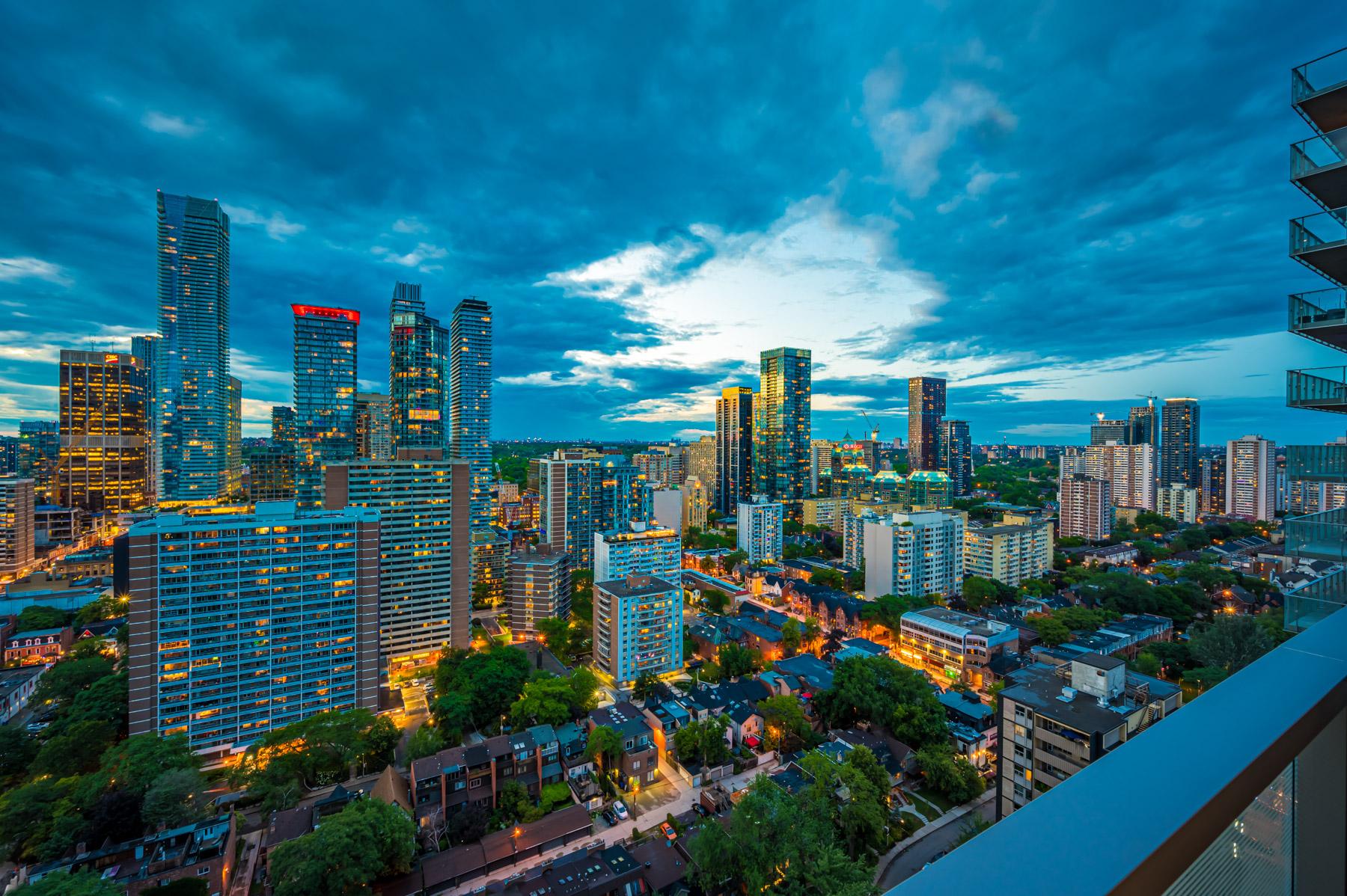 Toronto skyline at night from 28 Wellesley St Unit 3009 balcony.