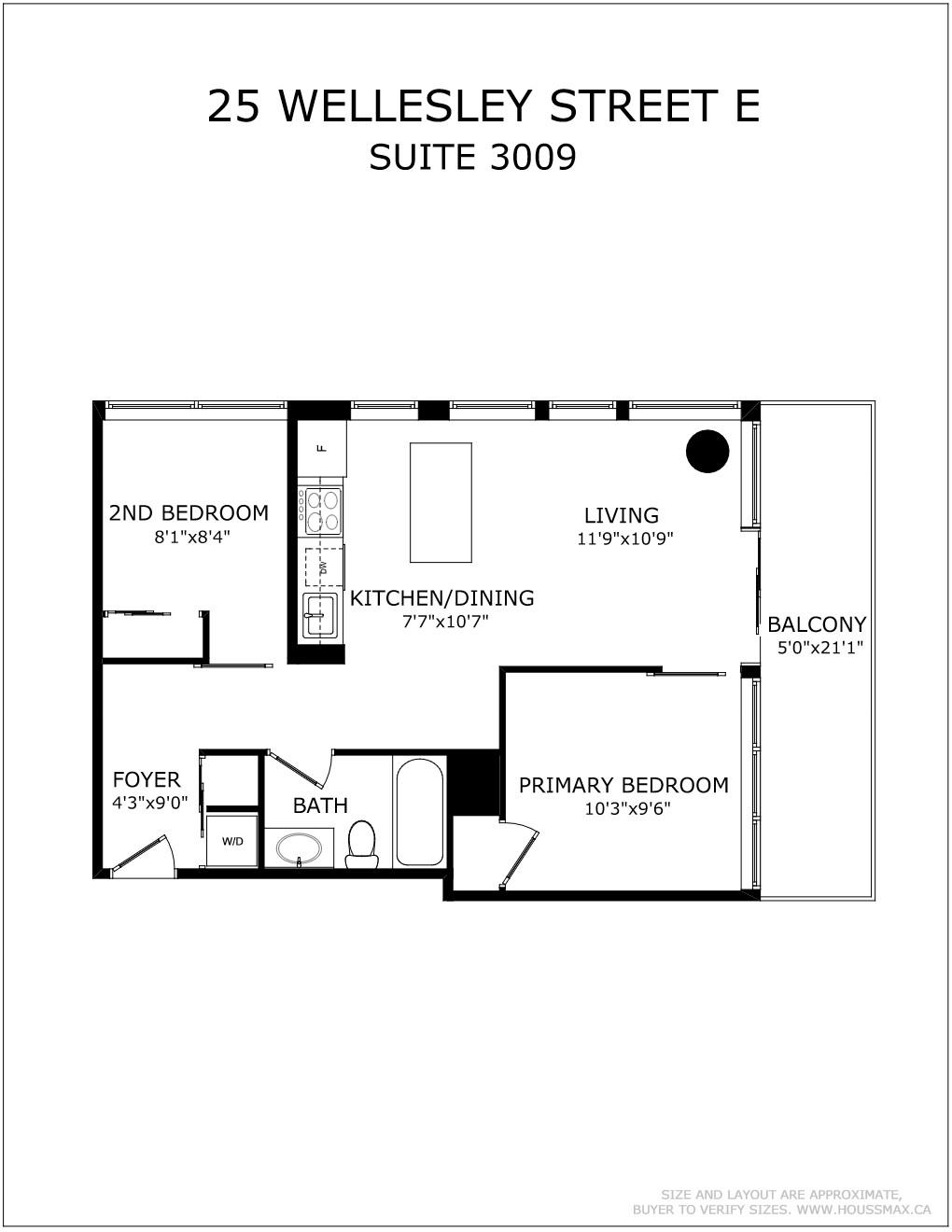 Floor plans for 28 Wellesley St E Unit 3009.