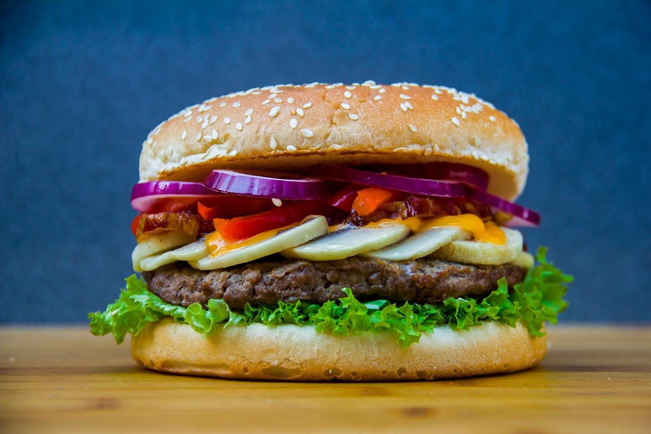 Close up of hamburger.
