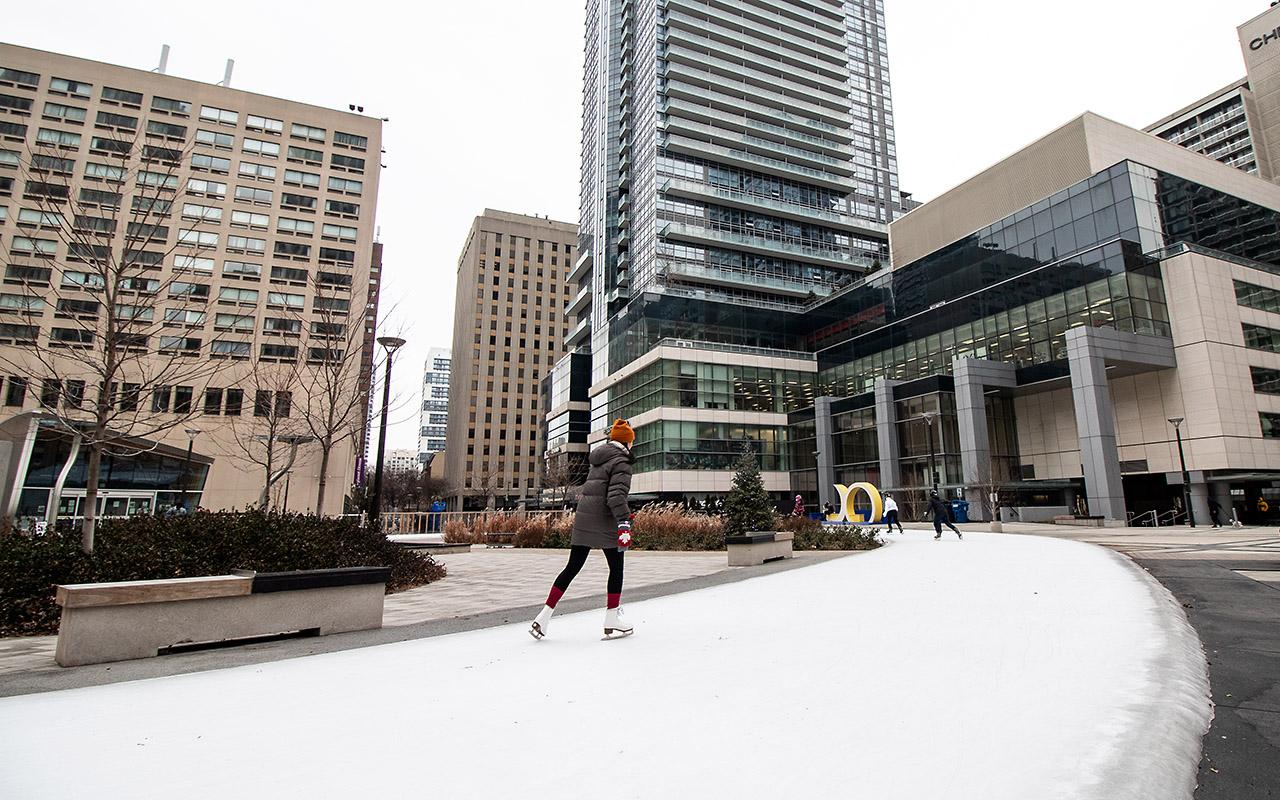 Ice rink at newly revitalized Barbara Ann Scott Park.