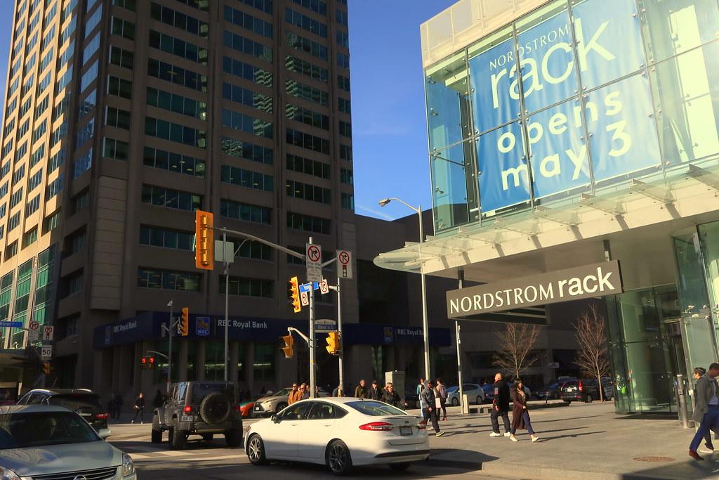 Nordstrom Rack storefront in Yorkville, Toronto.