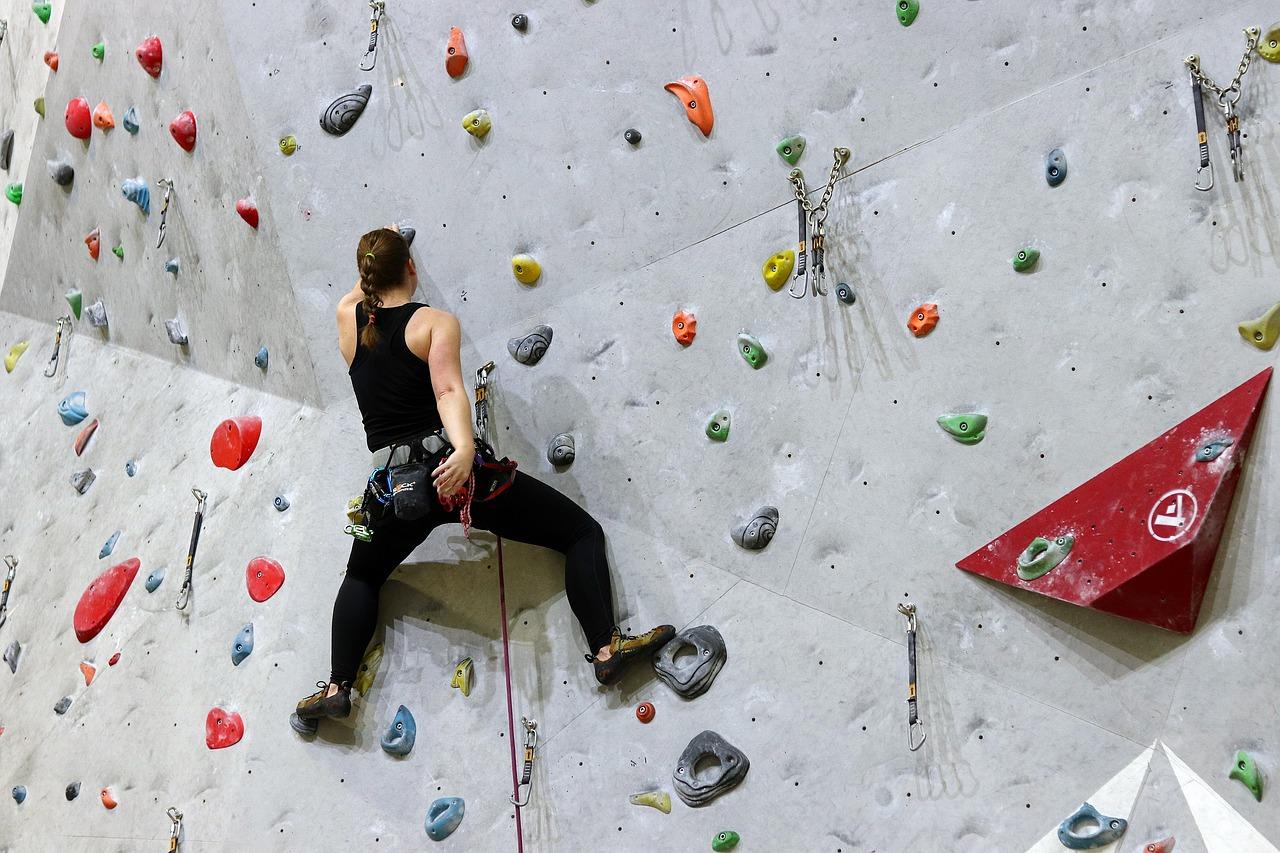 Rock climbing wall.