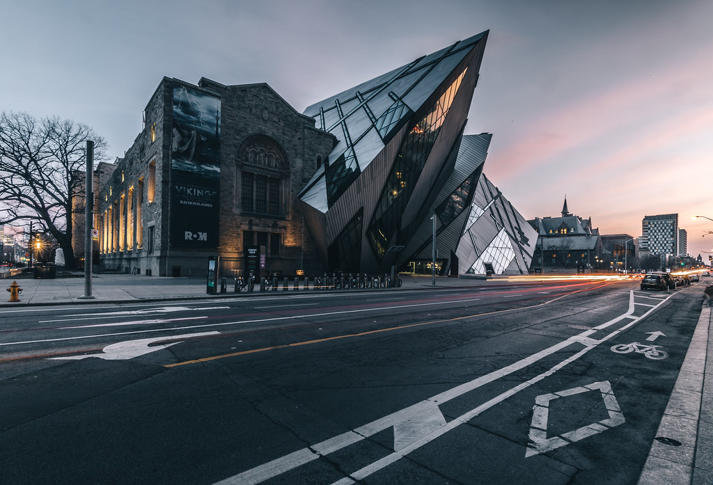 Exterior of Royal Ontario Museum during evening.