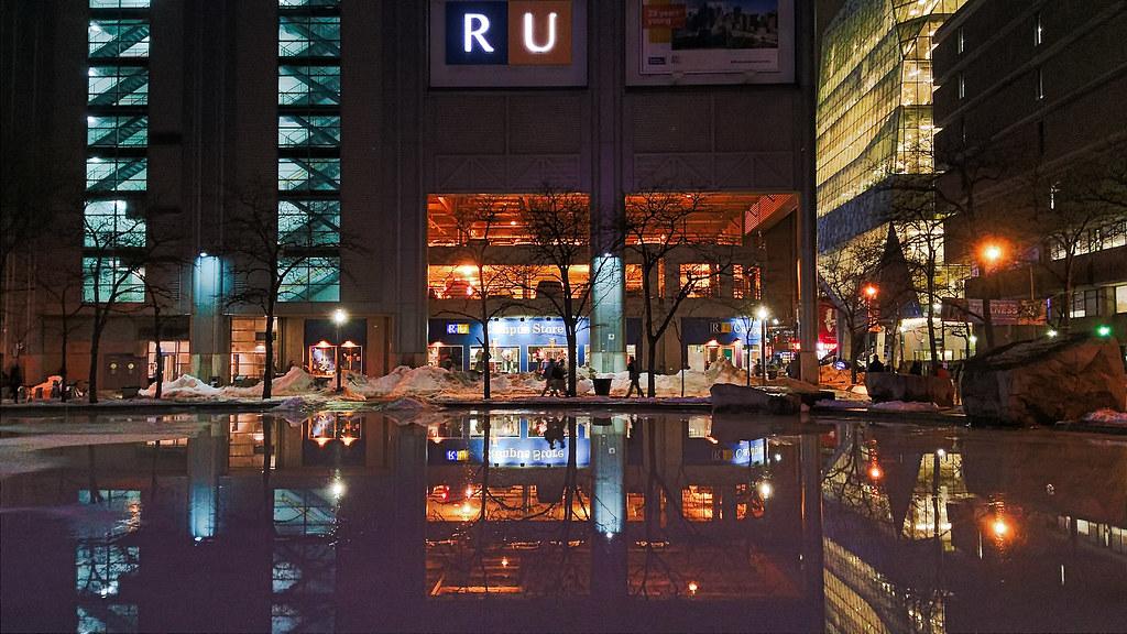 Ryerson University facade at night.