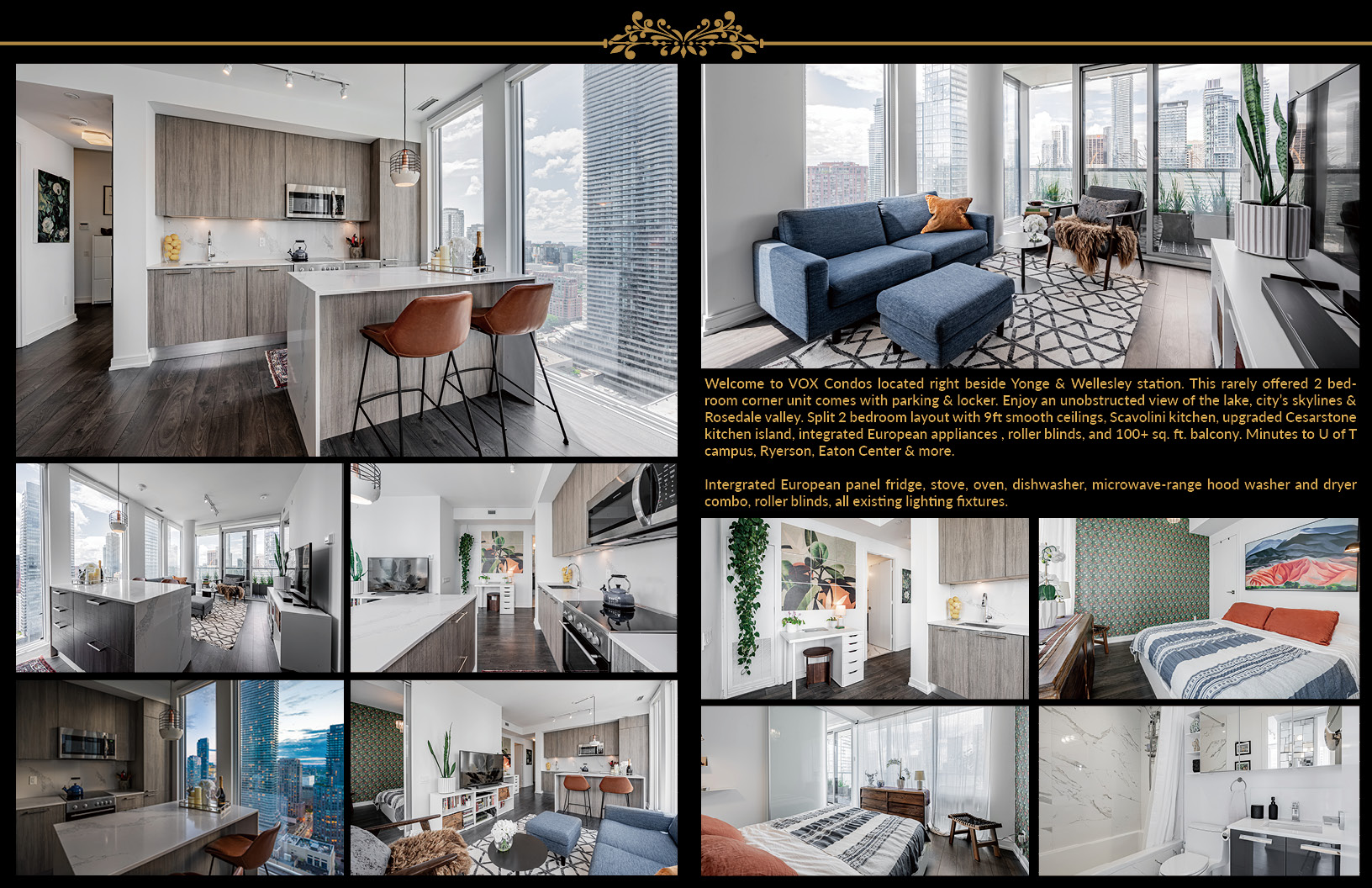 Marketing flyer with collage of 28 Wellesley St Unit 3009.