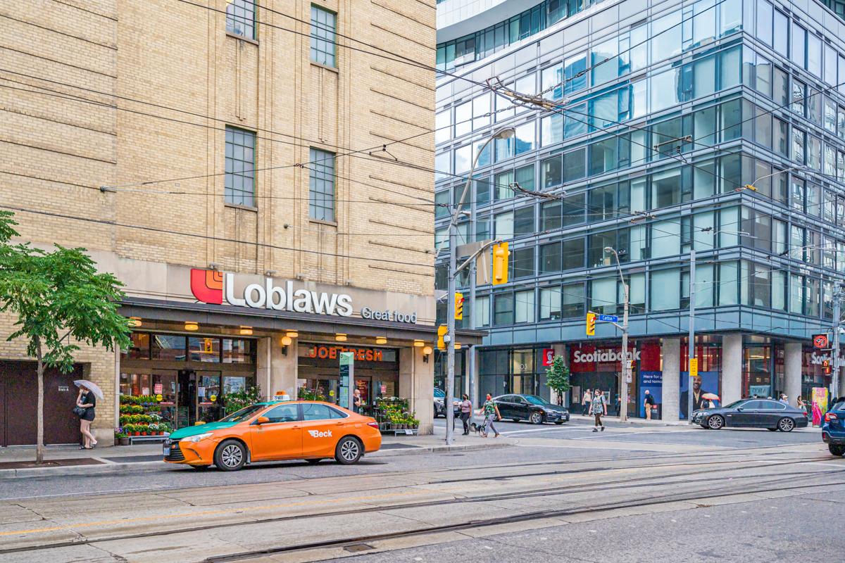 Loblaws, Scotiabank and Joe Fresh buildings in Church-Yonge Corridor.