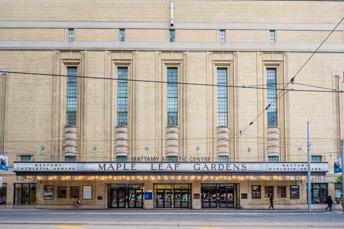 Historic facade of Mattamy Athletic Centre Maple Leaf Gardens.