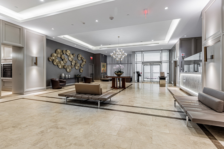 Modern and luxury lobby of The Residences of Yorkville Plaza condos.