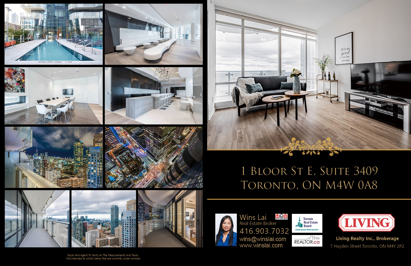 1 Bloor St E Unit 3409 brochure showing swimming pool, party room, buildings and more.
