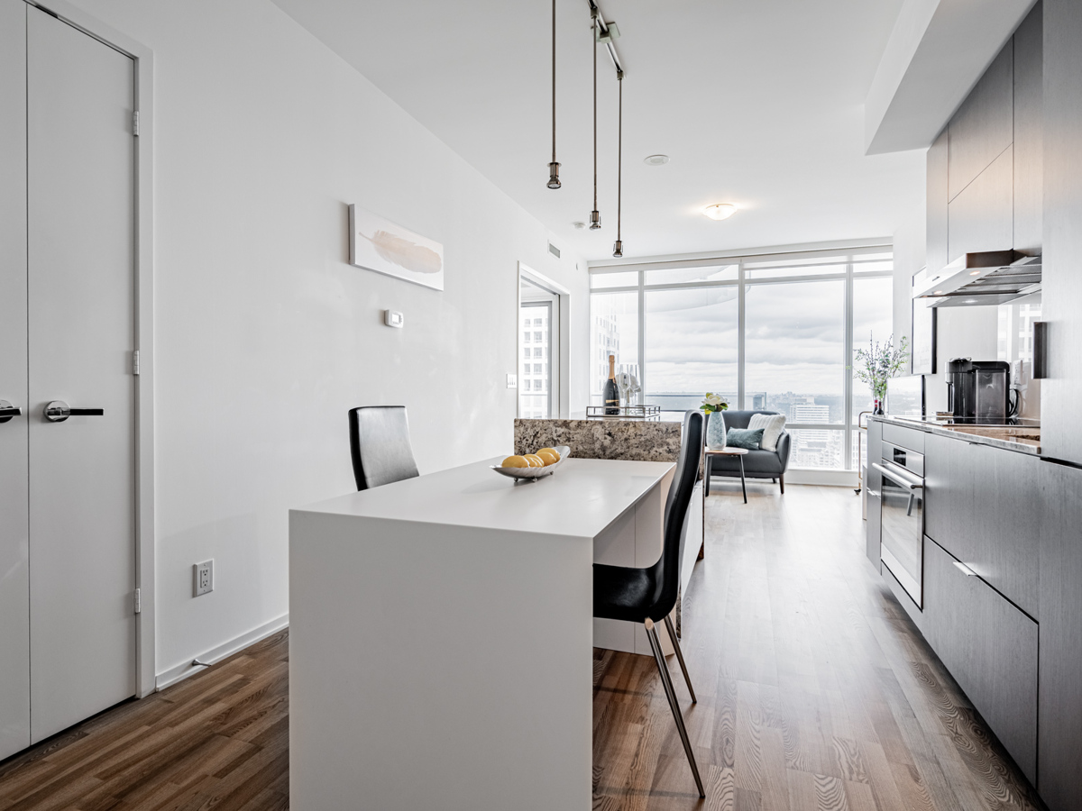 1 Bloor Unit 3409 kitchen and living room view.