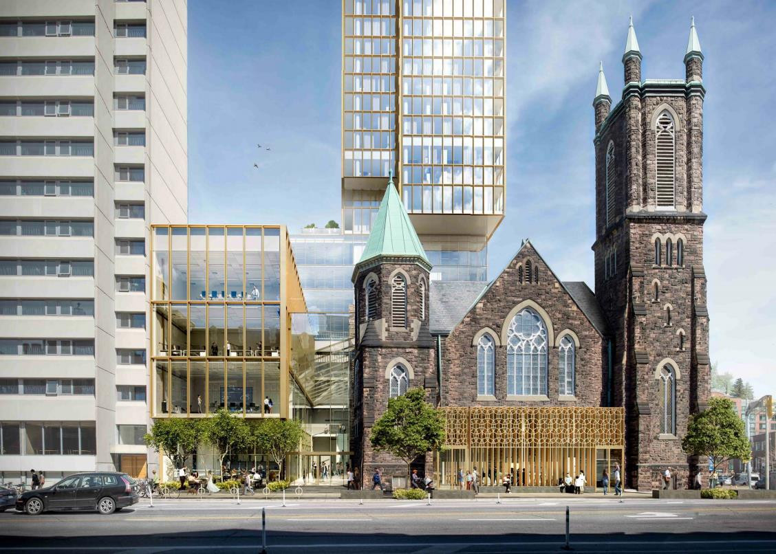 3D render of Ceilo Condos with Bloor Street United Church in foreground.