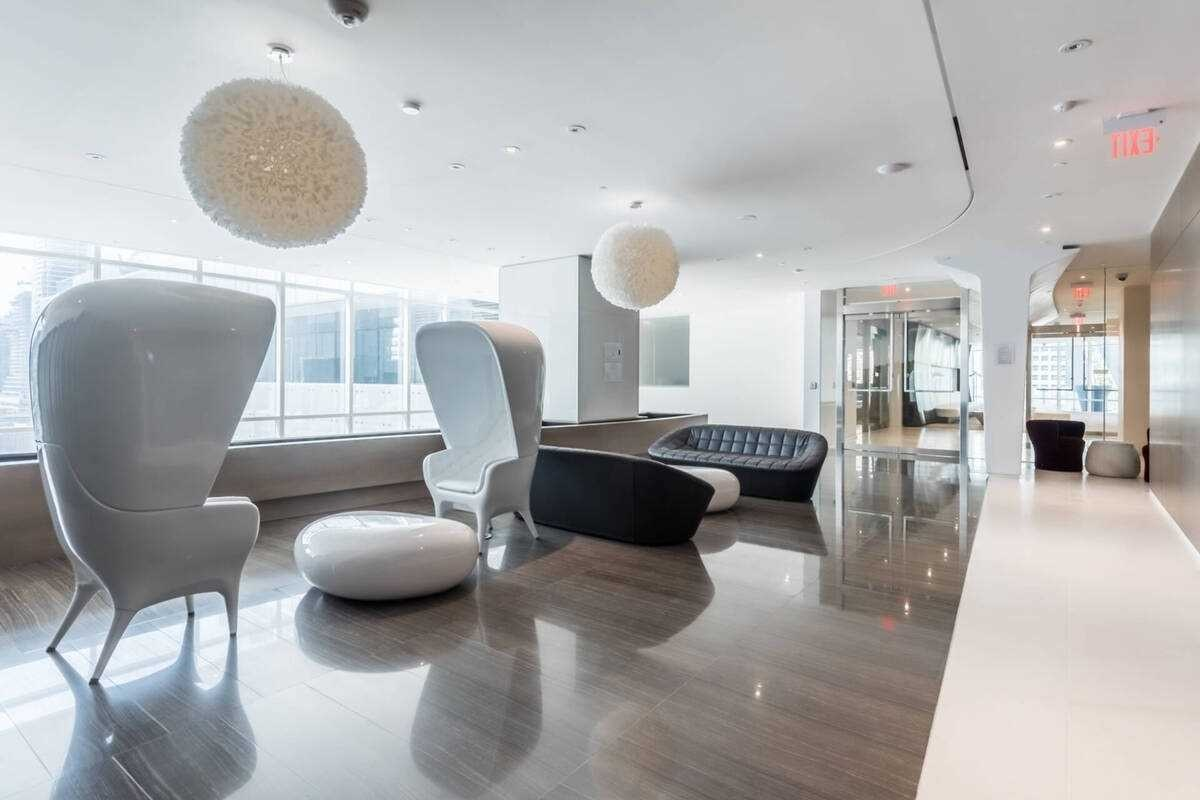 Chic lounge with modern furniture.