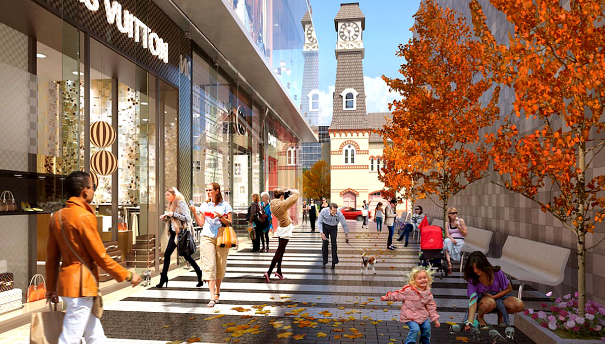 3D render of Yorkville shops and trees.